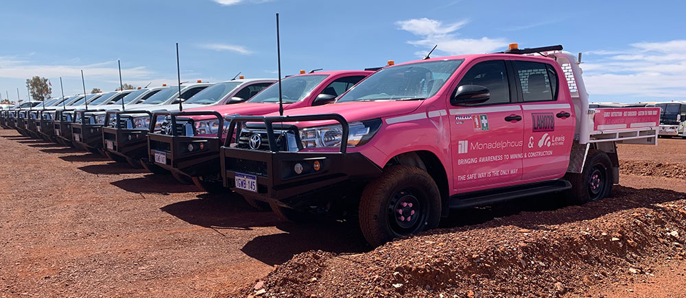 pink cancer awareness mine spec ute - GET CHECKED, Cancer Awareness Utes